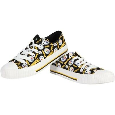 NFL Pittsburgh Steelers Repeat Print Low Top Sneakers Women's Shoes NEW