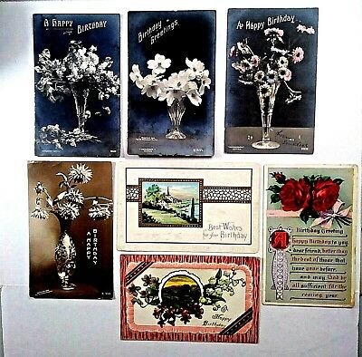 Lot of 7 antique vintage early 1900's Birthday 3 Embossed Hand colored PCs