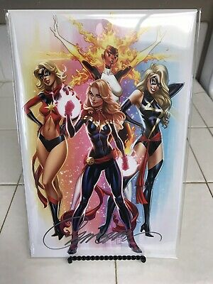 CAPTAIN MARVEL #1 J SCOTT CAMPBELL Signed 2019 Con Variant F Exclusive #574