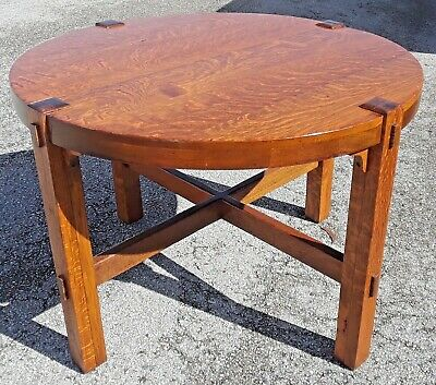 "Antique Arts & Crafts Mission oak 42"" round library table - Old Refinish"