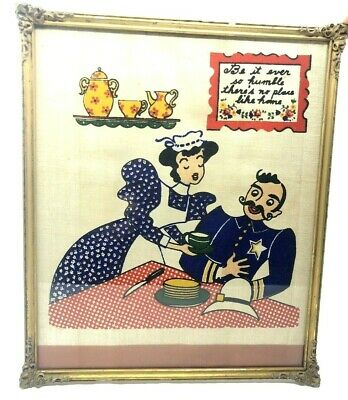 BE IT EVER SO HUMBLE THERE'S NO PLACE LIKE HOME Framed Printed Cloth VINTAGE