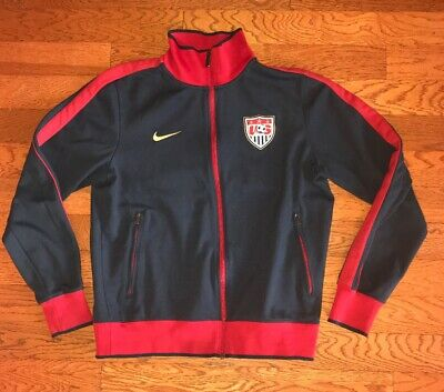b2f57a13cf5 Nike US Men s Soccer USA Team Track Jacket Navy Red Gold Spellout ADULT  Medium M