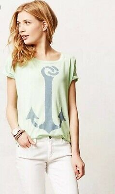 07006e387 ANTHROPOLOGIE SOL ANGELES Graphic Tee, Green w/Anchor—M - $35.99 ...
