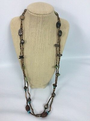 """Rare Silpada sterling Silver 925 Turquoise Heishi Shell Wood 60"""" necklace"""