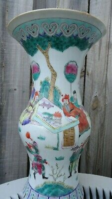 antique chinese vase porcelain emperor warriors hand painted scene people old