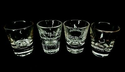 4 Vintage Bourbon Shot Glasses Old Forester Four Roses Kentucky Whiskey Barware