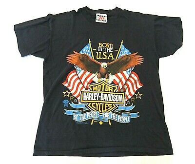 "VTG 1989 Harley Davidson ""Born in the USA"" Graphic T-Shirt Men's Size Large"