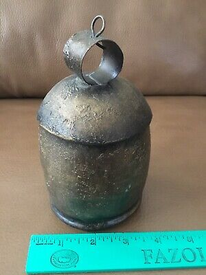 """Antique Vintage Metal Wood Clapper Cow Bell Dinner Bell ~ 6"""" X 3"""" ~ Rare"""