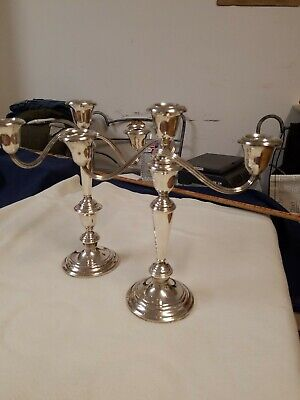 Pair Gorham 808 sterling silver Convertible 3 Light candelabra Candlesticks