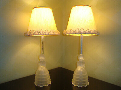 "Pair Gorgeous VTG Glass Southern Belle Lady Boudoir Lamp, ""All Glass Stem""."