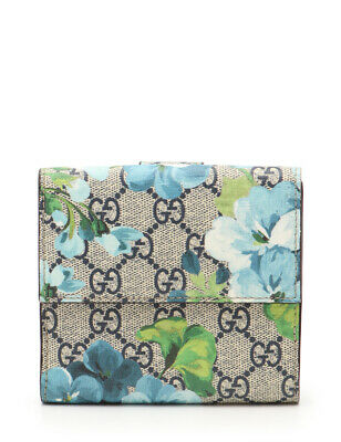 757941aa2dbbc7 GUCCI GG Blooms French flap wallet Folded wallet Flower PVC Light blue