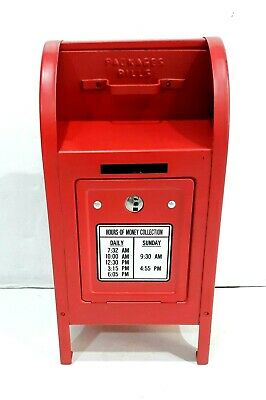 Red Painted Steel Figural Postal Post Office Mailbox Mail Box Still Bank & Key