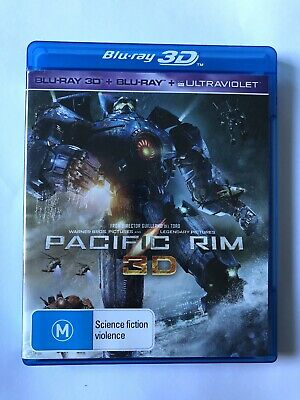 Pacific Rim (3D & Blu-Ray, 2013, 3-Disc Set) VGC Rated M Movie 🍿 Sci-Fi