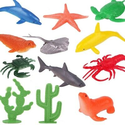 10X Plastic Ocean Animals Figure Sea Creatures Dolphin Turtle Whale Model Toys~