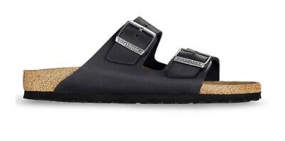 Birkenstock Arizona Natural Oiled Leather in Black (Classic Footbed Suede Lined)