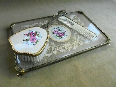 Vintage English Petit Point & Lace Filigree Brass Dressing Table Vanity Set Tray
