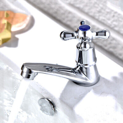 2Pcs Bathroom Basin Faucet Hot and Cold Water Mixer Tap ​Alloy Cross Head Taps