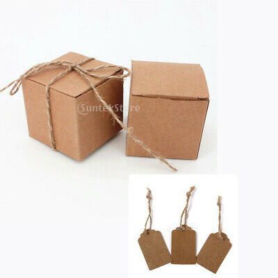 100 Kraft Candy Box + Blank Gift Tag Set Rustic Wedding Party Favor