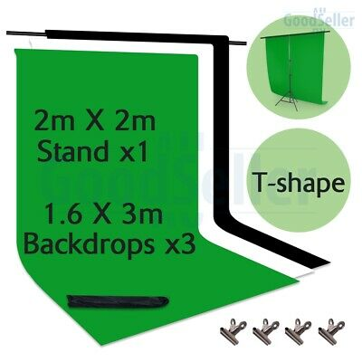 ChromaKey Green Screen Black White Backdrop T type Background Stand Photography