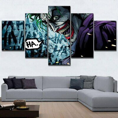 Joker Arkham Asylum Batman Harley Quinn 5 Piece DC Canvas Wall Art Print Poster