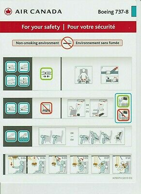 Air Canada BRAND NEW 2018/2019 Safety Cards (Set of 14)