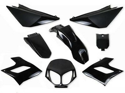 Satz 8 Fairings Derbi Senda DRD Racing Cover Plastics (2004-2010) Schwarz Black