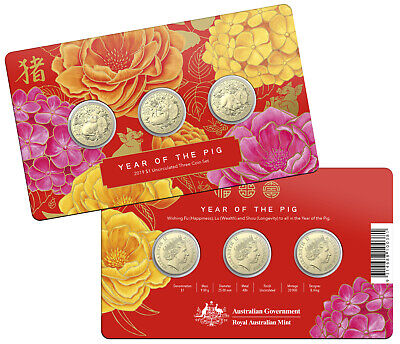 2019 3x Uncirculated Cu-Ni $1 Year of the Pig Carded Coin Set