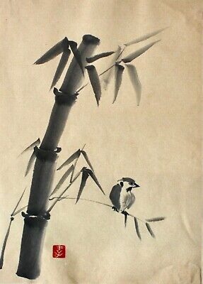 Japanese 20th c. Indian Ink Painting on Paper, Bamboo with Sparrow, red Seal