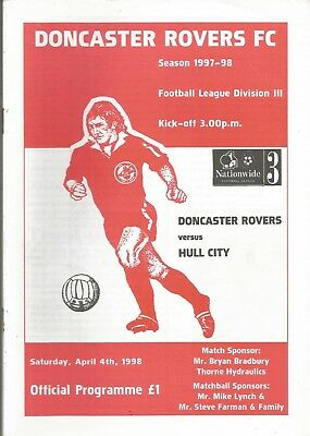 Football Programme - Doncaster Rovers v Hull City - Div 3 - 4/4/1998