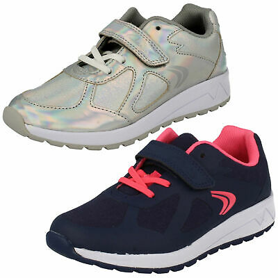Girls Junior Clarks Adven Maze Hook & Loop Shoes Casual Sports Trainers Size