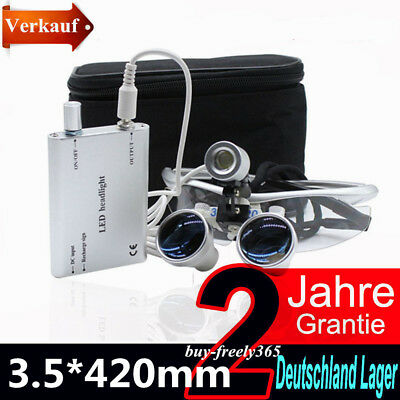 a10f76bdc3 3.5X 420mm Dentaire Loupes Binoculaires Loupes + LED tête argent Kits Nuovo
