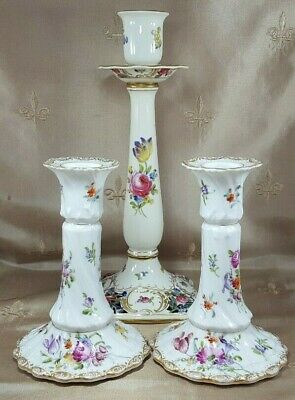 ANTIQUE Dresden CANDLESTICKS Lot of 3 HAND PAINTED Pair Plus One