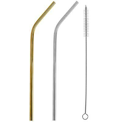 Metal Drinking Straws Reusable Stainless Steel Drinks Straw & Cleaning Brush