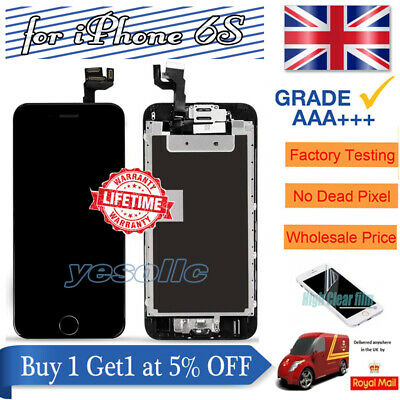For iPhone 6S Black Screen Replacement Digitizer LCD Touch Home Button Display