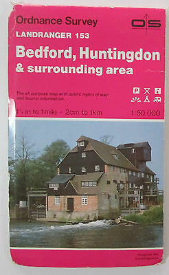 1988 old vintage OS Ordnance Survey Landranger map 153 Bedford, Huntingdon etc