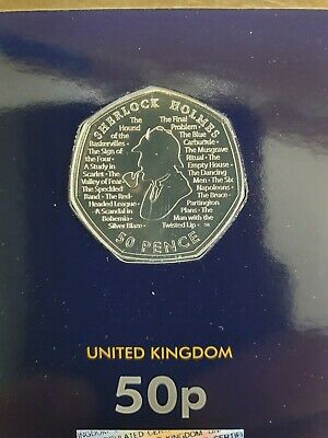 2019 Sherlock Holmes 50P Fifty Pence Uk Certified Bu Carded In Hand Uncirculated