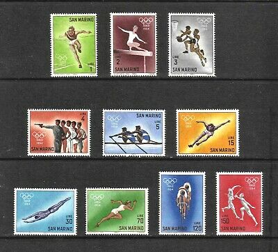 San Marino 1964 Olympic Games, Tokyo, complete set of 10 values (SG 743-752) MNH