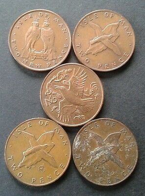 Isle of Man 1970's Two Pence Coins LOT