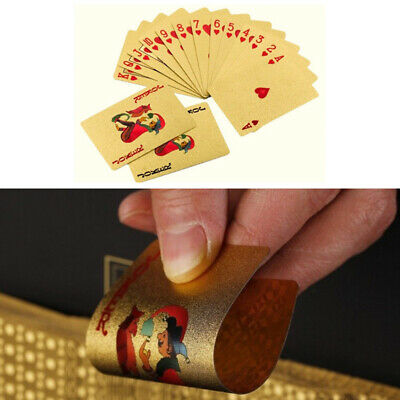 Waterproof 24K Gold Foil Plated Cover Poker Playing Cards Table Games