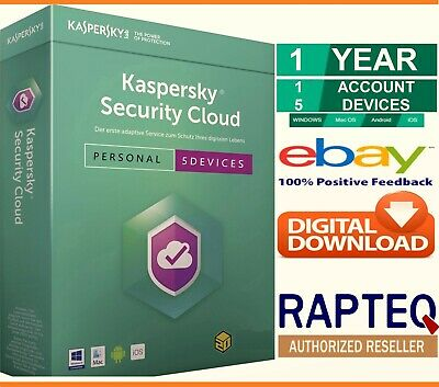 Kaspersky Security Cloud-Personal 5 Devices 1 Year PC/Mac/Android UK VAT EMAILED