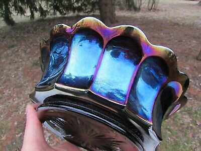 Imperial HEAVY GRAPE ANTIQUE CARNIVAL GLASS MASTER BERRY BOWL~PURPLE~A DANDY!