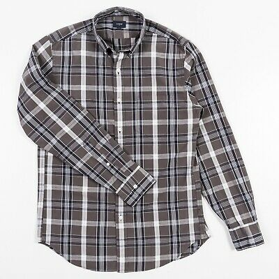 J. Crew Shirt Button Down Casual Cotton Brown & Gray Plaid Mens Small