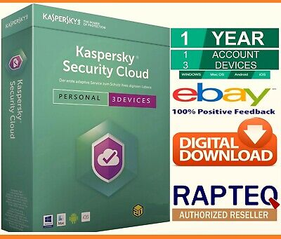 Kaspersky Security Cloud-Personal 3 Devices 1 Year PC/Mac/Android UK VAT EMAILED