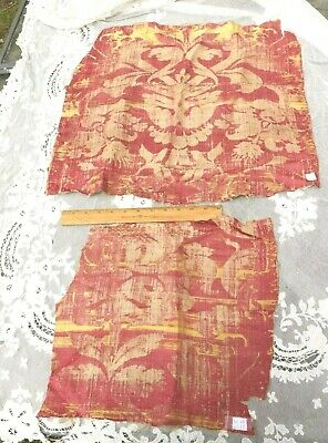 2 Pieces Of Antique 1600s Italian Red Silk/Linen Frame Fabrics~Collectors