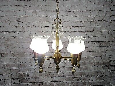 Antique Vintage Chandelier Brass Glass Fluted Shades Restored  Federal Fixture