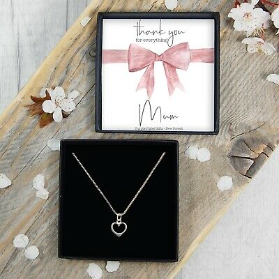 REAL Silver Thank You Mum Heart Necklace Wedding Day Gift Jewellery FREE Postage
