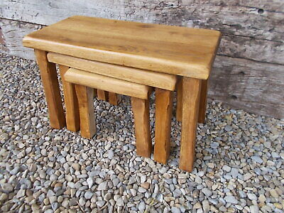 Chunky Solid Oak French Vintage Nest 3 Tables Ref T16/123