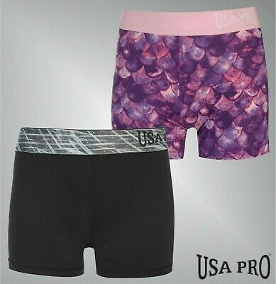 Girls USA Pro Close Stretch Fit 3 Inch Training Shorts Sizes from 7 to 13