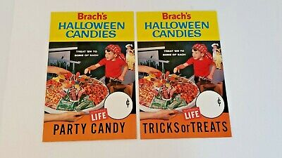 Pair 1960'S Brach's Candy Halloween Display Sign