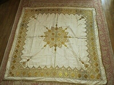 Antique Ornate Handmade Silk Gold Embroidered Square Panel,Throw 1930'S